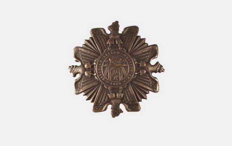 """Odznaka honorowa \""""Orlęta\"""", proj. T. Łuczyński, Lwów 1919, miedź"""