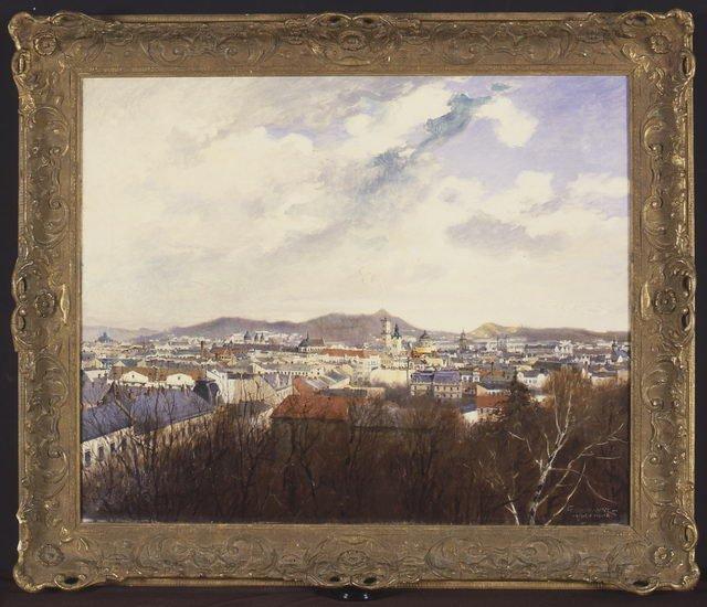 Marceli Harasimowicz, Panorama Lwowa, 1914, olej płótno