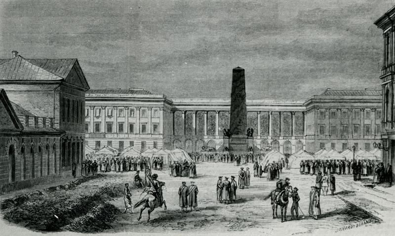 Biwak wojsk rosyjskich na Placu Saskim po wprowadzeniu stanu wojennego 14 X 1861 r.