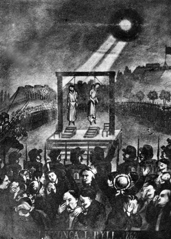Okolicznościowa pocztówka upamiętniająca egzekucję Ludwika Rylla i Jana Rzońcy 26 VIII 1861 r.