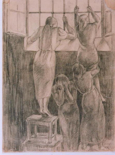 Jadwiga Tereszczenko, Nocny transport, 1941, rysunek