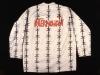 Koszula z obozu internowanych w Zaborzu, [1982] druk, kredki, biała flanela