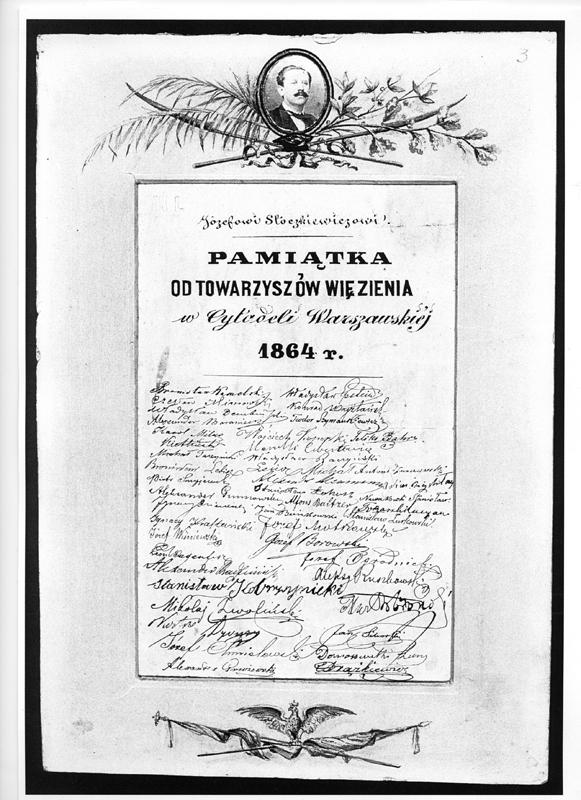 \'Józefowi Stoczkiewiczowi pamiątka od towarzyszów więzienia w Cytadeli Warszawskiej 1864 r.\'