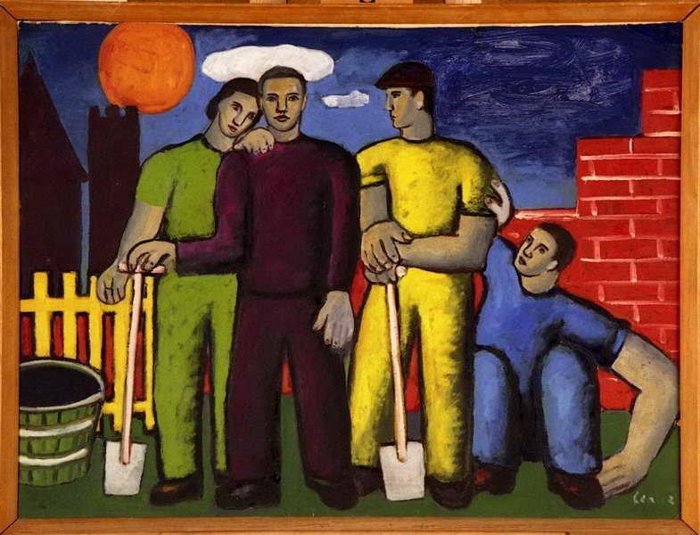 Alfred Lenica, Na budowie, [1948], olej tektura