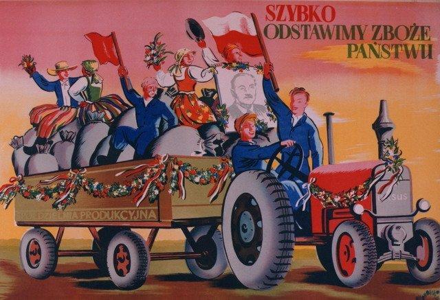 Tadeusz Gronowski, Szybko odstawimy zboże Państwu, 1952, plakat