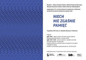Niech nie zgaśnie pamięć -Palmiry_zaproszenie 15-12-15 r.